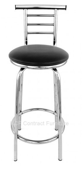 Ttf R 138 Chrome Bar Stool With Backrest