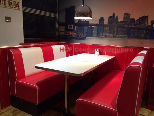 Retro seating booths and retro chairs and diner furniture for 50s diner style kitchen