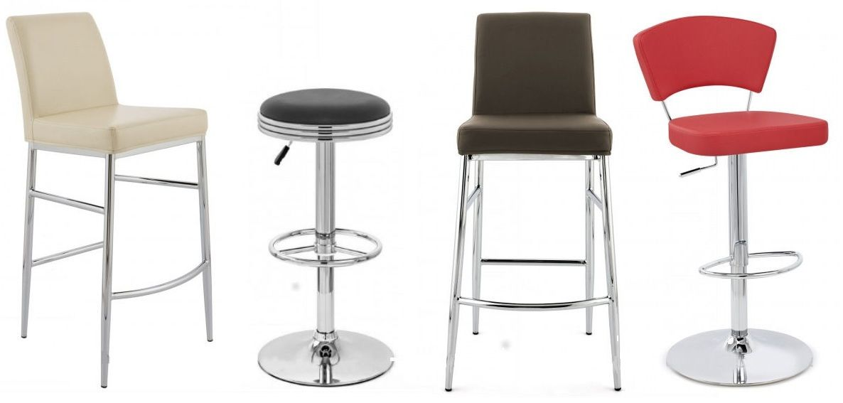 Stools Retro Stools Barstools In Leather Wood Chrome