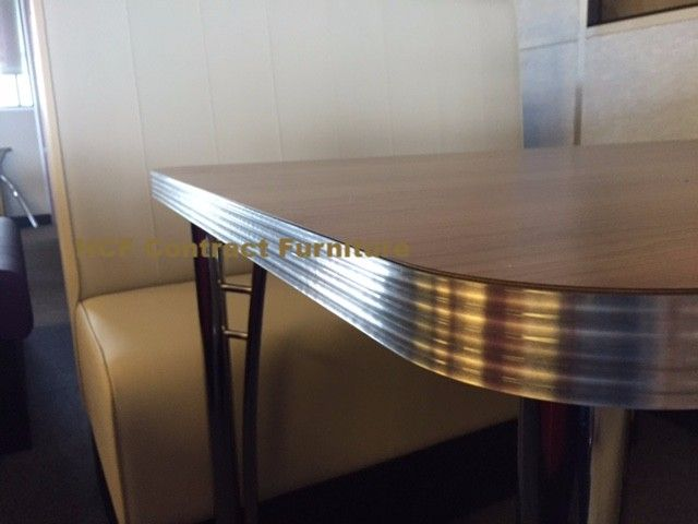 American Diner 50s Table Retro Stainless Ribbed Edge