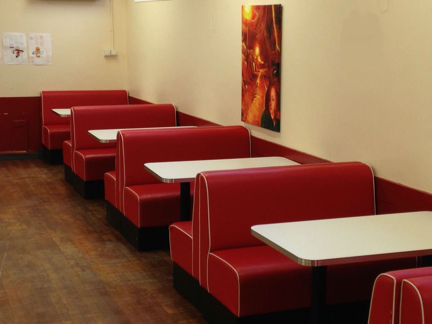Upholstered restaurant booths, fixed, bench bar seating banquette ...