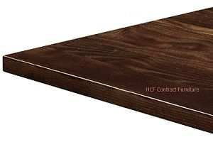 800mm x 800mm x 25mm Thick Solid Ash Table Top - Dark Walnut (P)
