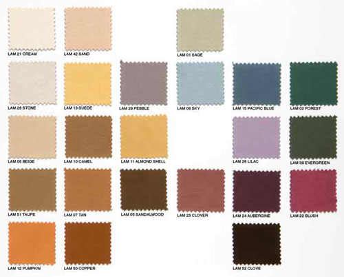 C Range. 'Lamota Suede' Fabric Colours