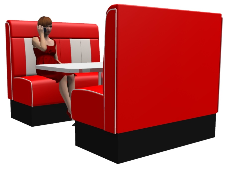 High Back Retro 4 Seater Booth Set