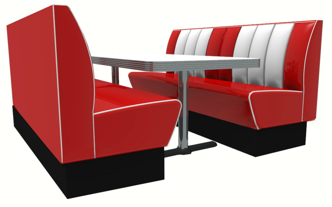 Memphis American Diner 6 Seater Retro Booth Set