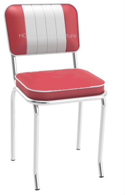 Memphis Hcfr2 Retro Diner Chair Red Amp White