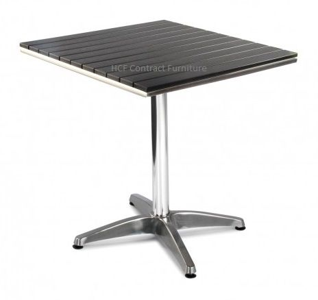 Paris 700mm Square (NO WOOD) Complete Table-Black Dining (GL)