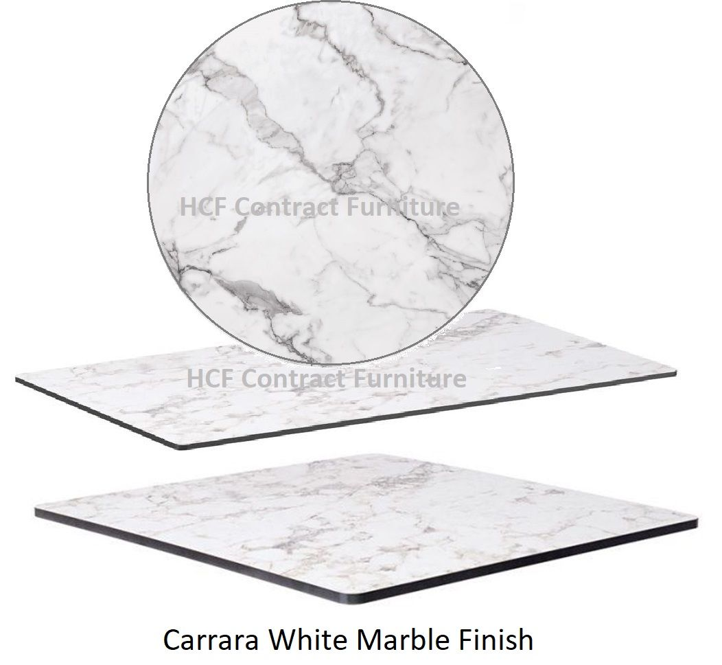 Quartzite HP Laminate Table Tops 12mm Thick - White Carrara  Marble
