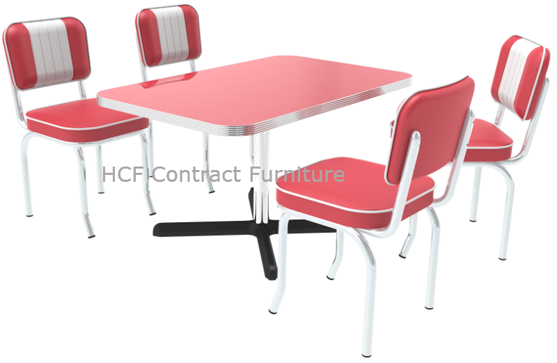 Retro Table U0026 4 Memphis Red/White Retro Chairs