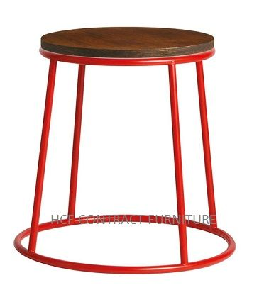 Spruce Low Stool (P) Jacobean Seat/Red