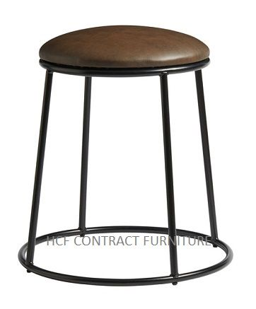 Spruce Low Stools (P) Upholstered Seat/Black
