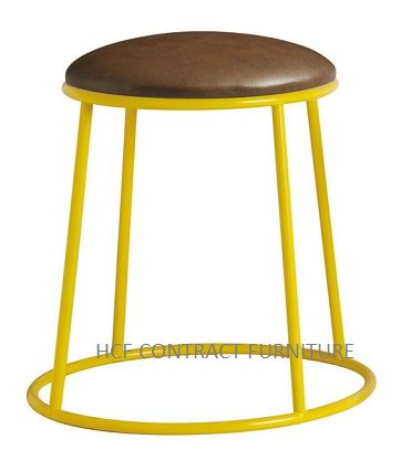 Spruce Low Stools (P) Upholstered Seat/Yellow